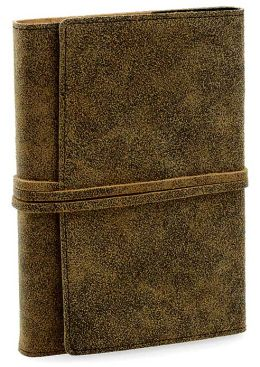 Distressed Brown Leather Journal With Tie Fastener By