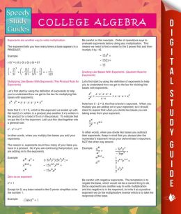 College Algebra (Speedy Study Guides) by Speedy Publishing ...
