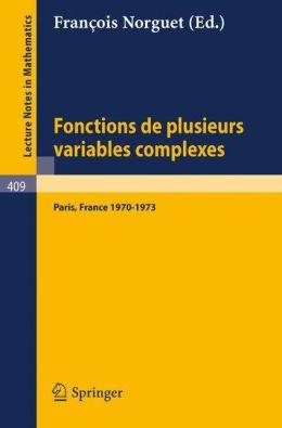 Fonctions de Plusieurs Variables Complexes Fran?ois Norguet